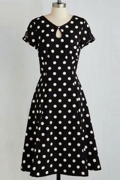 Stylish Keyhole Neck Short Sleeve Polka Dot Women's Dress