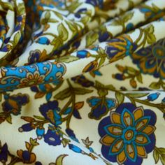 A selection of paisley floral polyester crepe fabrics, these stunning prints remind me of William Morris era very decorative but a lot cheaper. This wide fabric comes in teal blue & green on an ivory background. 1950s Fashion Dresses, Paisley Flower, Vintage Dress Patterns, Crepe Fabric, Paisley Design, Teal Blue, Old And New, Fabric Flowers, Finding Yourself
