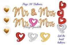 Mr & Mrs Script Balloons, Heart Link Balloons, Wedding Party Decorations, Anniversary and Bachelorette Party Decor, Valentines Balloons Heart Balloons, Helium Balloons, Confetti Balloons, Summer Wedding Decorations, Bachelorette Party Decorations, Valentines Balloons, Balloon Tassel, Balloons And More, Wedding Balloons