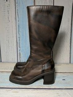 b566ba43e865 MIA Womens Sz 7.5M Brown Black Leather Zip-Up Tall Boots Block Heel Brazil