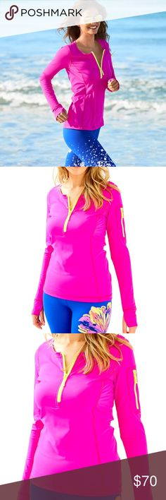 Lilly Pulitzer 50+ Luxletic Kona Sunguard New with tags. Size large in berry sangria. Lon sleeve safeguard with a zip pocket at the sleeve. Lilly Pulitzer Tops