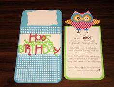 Night Owl Birthday Party Invite    Hoot N Holler Cricut cartridge