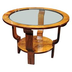 Art Déco Glass and Burlwood Round Entry Table