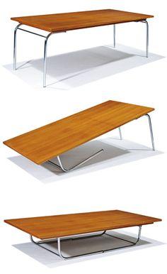 Folding Table Diy, Diy Table, Adjustable Legs, Metal Shelves, Bookshelves, Dining Bench, Innovation, Furniture Design, Richard Neutra
