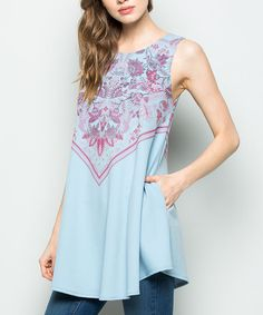 Loving this Dusty Blue Floral Sleeveless Tunic - Plus on #zulily! #zulilyfinds