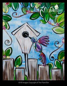 Hummingbird Birdhouse Painting - Jackie Schon, The Paint Bar