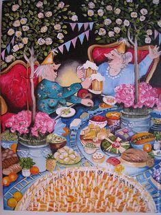 Инге Леек ( Inge Look) - Frau Stich - Schlinge - Инге Леек ( Inge Look) Инге Леек ( Inge Look) - Friend Birthday, Happy Birthday, Cake Birthday, Birthday Cake Illustration, Old Lady Humor, Vintage Illustration, Girl Friendship, Whimsical Art, Funny Art