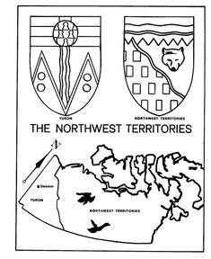 Canada Day Coloring Pages - Northwest Territories - Map / Coat of Arms Coloring Pages Geography Lessons, Maps For Kids, Northwest Territories, Canada Day, Learn French, Learning Centers, Colouring Pages, Coat Of Arms, Social Studies