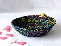 Rustic Batik Basket Handmade Blue Artisan Bowl Candy Dish  #wexfordtreasures #basket #bowl #gift #decorative #handmade #home #decor  #etsyshop #artisan #coiled #quilted #textile #art #fiber #fabric #rope