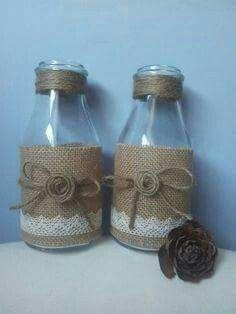 Botellas decoradas yute puntillas