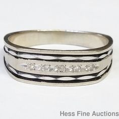 Unusual Black Enamel Genuine Diamond Vintage 14k Gold Mens Wedding Band Ring #Band