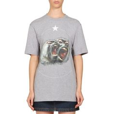 Givenchy Monkey Brothers Cotton Tee (388.110 CLP) ❤ liked on Polyvore featuring tops, t-shirts, apparel & accessories, light grey, givenchy t shirt, crew neck t shirt, cotton t shirt, short sleeve tops and graphic tees