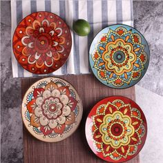 OUSSIRRO creative home European style hand-painted ceramic art ceramic fruit bowl high-grade gorgeous plate Painted Ceramic Plates, Ceramic Tableware, Hand Painted Ceramics, Ceramic Bowls, Ceramic Pottery, Decorative Plates, Pottery Painting, Ceramic Painting, Ceramic Art