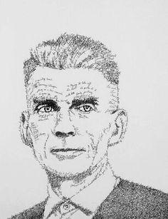 Retrato tipográfico de Samuel Beckett, con fragmentos de Esperando a Godot, realizado por John Sokol