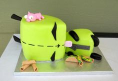 If you love Invader Zim, then you realize that this is the best cake ever. Passed out Gir.