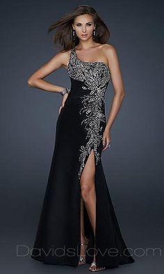 A-Line One-Shoulder Long Elastic woven satin Dress