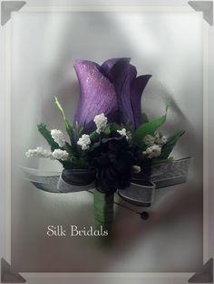 Purple plum Boutonniere rose Groom groomsman bridal by SilkBridals, $3.75