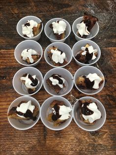 Chocolate croissant bread pudding. Guests loved the Ready whip topping and Lowes chocolate syrup drizzled on top!