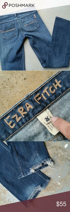"""EZRA FITCH SELVEDGE JEANS by ABERCROMBIE Designer brand Ezra Fitch by Abercrombie and Fitch bootcut selvedge jeans.  Bottom of jeans, in back, are distressed.  Brown rhinestones across the back pockets, missing 1 stone. 98% cotton & 2% spandex. Made in USA. Tag says 26"""" waist but it measures 28"""". 8"""" rise. 33"""" inseam. 8.5"""" ankle opening. Ezra Fitch Jeans Boot Cut"""