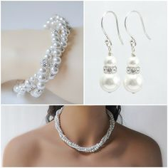 Pearl Necklace Set Wedding Jewelry Set Bridal Jewelry by ABbling, $169.00