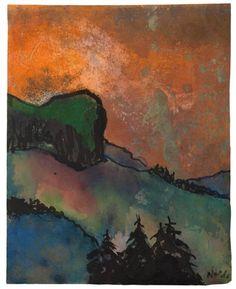 Emil Nolde, Mountain Landscape And Black pines - c. 1935