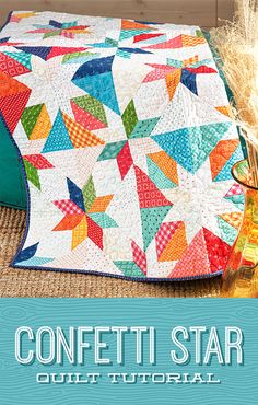 In this week's tutorial, Jenny is stitching up the adorable Confetti Star quilt from Material Girlfriends Patterns! This quilt block is much easier than it appears, and it can be laid out in so many different ways! Click the link below to watch the quilting tutorial now! #MissoruiStarQuiltCo #MSQC #JennyDoan #ConfettiStarQuilt #StarQuilt #MaterialGirlfriendsPatterns #LayerCake #Quilt #Quilting #HowToQuilt #StarAesthetic #Sewing #BeginnerQuilt #QuiltPattern #QuiltTutorial #QuiltBlock Star Quilt Patterns, Star Quilts, Rag Quilt, Scrappy Quilts, Mini Quilts, Quilting Blogs, Quilting Tutorials, Quilting Projects, Msqc Tutorials