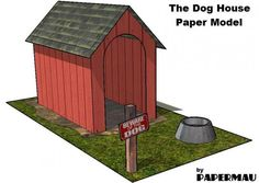 The Dog House Paper Model - by Papermau - Download Now! - == -  This is the Dog House, an easy-to-build paper model in only one sheet of paper. I created this for my little daughter Maiú play with her Littlest Pets. Download easily, directly from Google Docs.