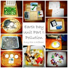 Earth Day learning activities and free printables for kids that teach about pollution.