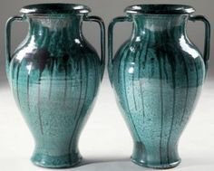 308: Fine Pair Floor Vases, NC Pottery : circa 1940, earthenware of urn form with strong variegated green glaze, att. J.B. Cole Pottery. Leland Little