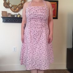TORRID Pale Pink Star Halter Dress. Size 18. TORRID Pale Pink with black Stars Halter Dress. Size 18. Black Tulle at bottom. LIKE NEW. Great condition. Previously owned. No rips, tears or stains. torrid Dresses Midi