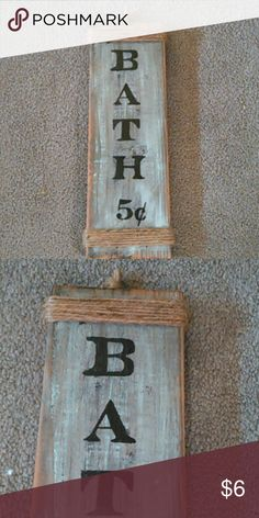 "Bath decor Handmade wood bath decor Approximately 12"" long x 1/2' wide NO two alike - texture of wood, hand painted,  grain of wood. ***I am not a professional, I just have fun making rustic decor. Other"