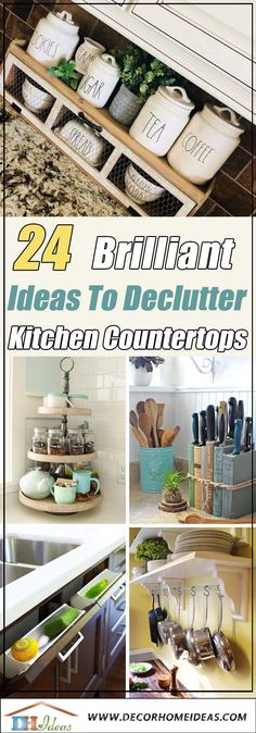 Modern Kitchen Decor : 24 Brilliant Ideas To Declutter Your Kitchen Countertop Home Design, Web Design, Interior Design, Kitchen Countertop Organization, Kitchen Countertops, Kitchen Cabinets, Rustic Cabinets, Antique Cabinets, Home Decor Kitchen