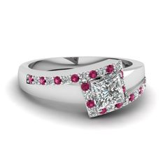 Princess Cut Diamond Side Stone Ring With Pink Sapphire In 950 Platinum | Metal Zig Zag Ring | Fascinating Diamonds