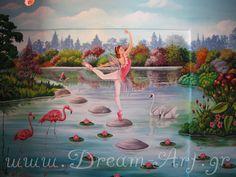 Dream-Art.gr: Ζωγραφική παιδικού δωματίου η λίμνη με την Μπαλαρί...