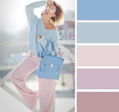 Pastels fashion color combinations, color combinations for clothes, col Colour Combinations Fashion, Color Combinations For Clothes, Fashion Colours, Colorful Fashion, Color Combos, Color Schemes, Colour Pallete, Color Palettes, Purple Palette