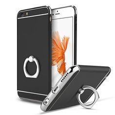 iphone 6 iphone 6s ケースLWGON スタンドリング付き 360専用 ケース 耐衝撃 3パーツ式 アイフォン6s iPhone6 ケース カメラ保護 アイフォンケース (ring ブラック) [並行輸入品]