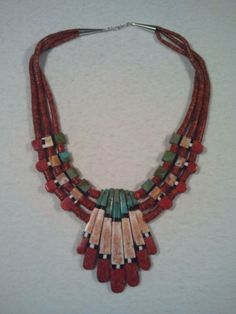 Santa Domingo Turquoise, Red Coral, Onyx, Spiny Oyster And Sterling Necklace