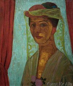 Paula Modersohn-Becker - Figurative Painting - German Expressionism - Woman with Hat - Selbstbildnis mit Hut und Schleier