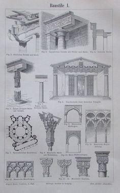 BAUSTILE I. und II. 1893 Original Antik 2 Drucke Antique Prints Lithografie