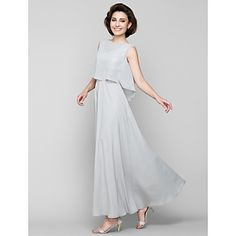 A-line+Mother+of+the+Bride+Dress+-+Silver+Ankle-length+Sleeveless+Chiffon+–+USD+$+99.99