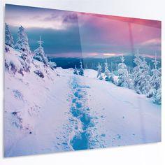 "DesignArt 'Beautiful Sunrise over Winter Mountains' Photographic Print on Metal Size: 30"" H x 48"" W x 1"" D"