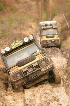 Pair of Camel Trophy Land Rover Defender's traversing Ruts