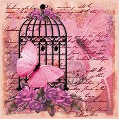 Printable freebie - birdcage and butterfly Paper Butterflies, Butterfly Art, Background Vintage, Paper Background, Vintage Pictures, Vintage Images, Decoupage Printables, Dibujos Cute, Newspaper Crafts