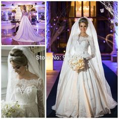 Find More Wedding Dresses Information about Wholesale Wedding Dress vestidos de noiva 2015 Long Sleeves Off The Shoulder Pearls Sheer Lace A line Wedding Gown ,High Quality gown shoes,China dresses gowns uk Suppliers, Cheap gown brooch from Rosemary Bridal Dress on Aliexpress.com