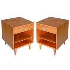 Pair Mid Century Walnut Nightstands by George Nelson