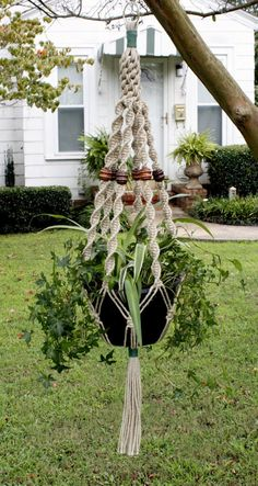 Macrame Plant Hanger Hemp Swirly Things 2Tone beads by Macramaking, $25.00