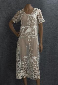 Embroidered tulle tea dress, c.1924