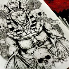 Anubis Back Tattoo Design >>>>>>This is so cool!