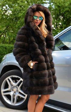 Russian Barguzin Sable Fur Hooded Coat