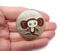 Vintage Soviet Pin Cheburashka Kids pin Metal brooche Cartoon character Russian USSR Rare Collectible Badge Hipster gift Made in USSR